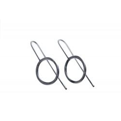 Cirkel-øreringe oxideret sølv